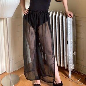 Pants - Sheer black vintage pants